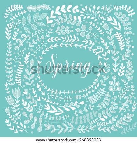 Vector decorative frames and leaf. Spring elements. Floral doodles wheath. - stock vector