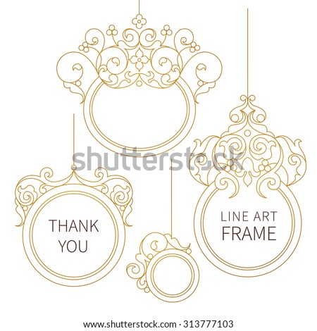 Vector decorative line art frames for design template. Elegant element in Eastern style. Golden outline floral border. Lace decor for invitations, greeting cards, certificate, thank you message. - stock vector