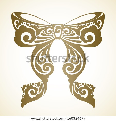 Vector decorative ornamental bow with ribbons - stock vector