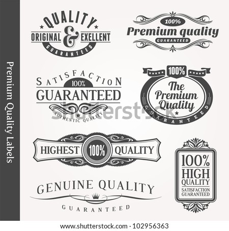 Vector decorative ornamental emblems of quality - stock vector