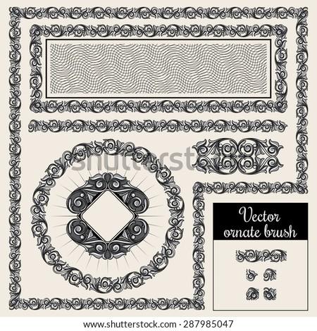 Vector decorative ornate design elements and brush for illustrator - stock vector