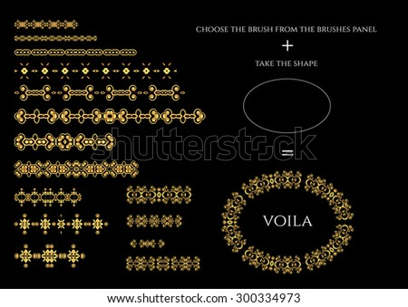 Vector decorative pattern  brushes. Dividers, borders, ornaments. - stock vector