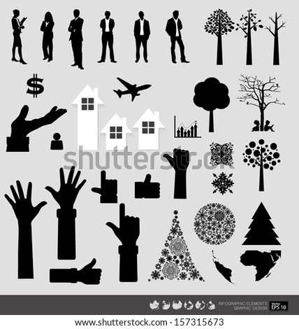 Vector Decorative Wall Stickers For Your office's Interiors. (easy to make your own wall stickers) - stock vector
