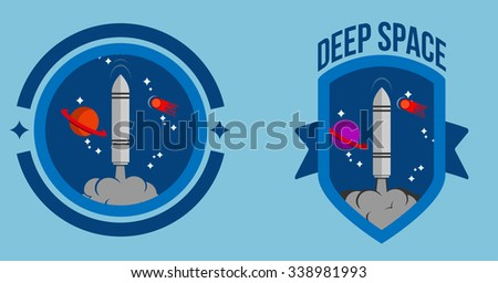 vector deep space cosmos astronauts badge shape illustrator - stock vector