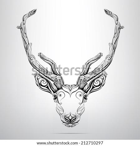 Vector deer head in the ornament - stock vector