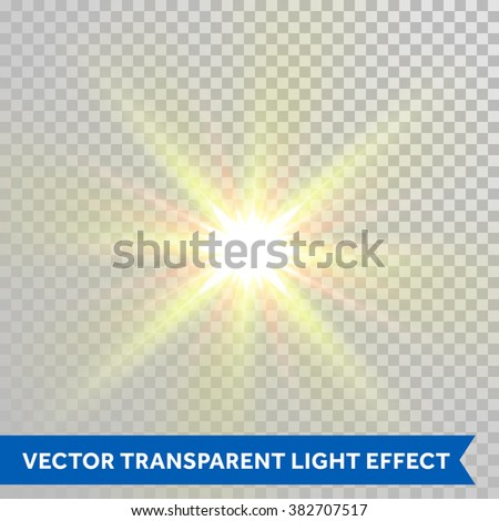 Vector defocused shining sun ray of light. Twinkling sunlight spark. Bright glaring light flash with lens flare optical effect isolated on transparent background - stock vector
