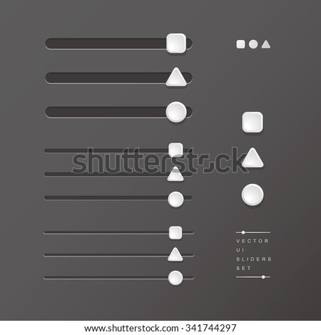 vector delicate UI elements, sliders, volume controls / for websites, blogs or applications / square + triangle + circle / on iron grey background - stock vector
