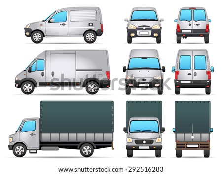 Vector Delivery Vehicles - Profile - Front - Rear view - stock vector