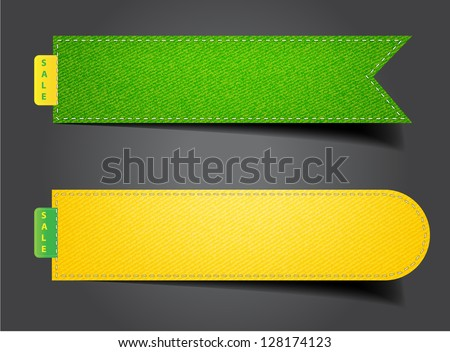 Vector denim fabric colorful badges set, stickers, labels, tags - stock vector