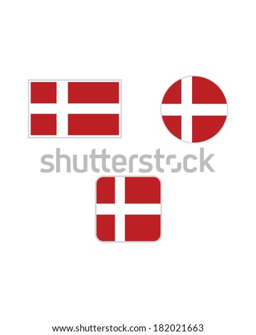 Vector Denmark Flag and Icon Set - stock vector