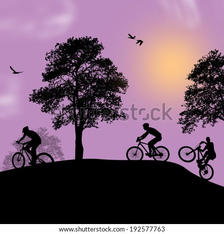 Vector design background with beautiful landscape and cyclists silhouettes - stock vector
