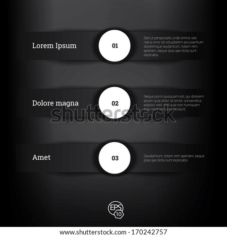 Vector design, Black edition of adjustable eps10 composition an abstract minimal geometric paper background based list elements with menu field for numbering for web, print, brochure or infographics  - stock vector