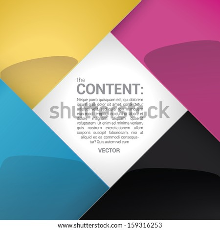 Vector design. CMYK color concept edition of a shiny scalable  square shaped border -  with rectangle  framed  content field or text box with custom / adjustable background element for universal use  - stock vector