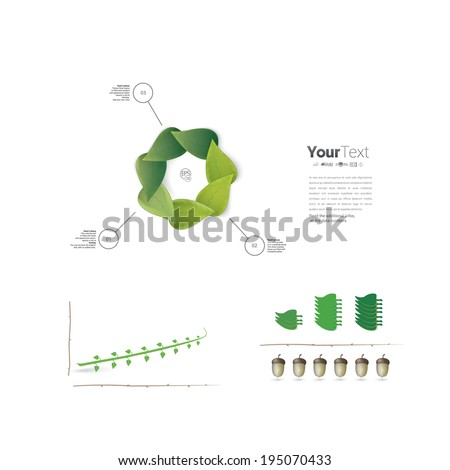 Vector design. Eco - green infographics page layout design with a sample chart graphics elements and a fresh branch illustration in the middle. - stock vector