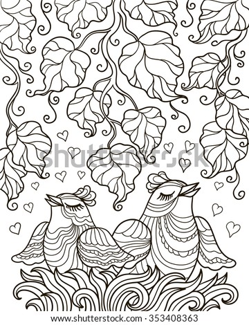 vector, design element, contour illustration, coloring book page, valentines day, love nest, birds, couple, leaves, branches, art, abstract, plant, animal - stock vector