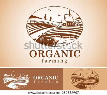 Vector design element with rural landscape. - stock vector