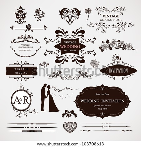 Vector design elements and calligraphic page decorations for wedding - stock vector