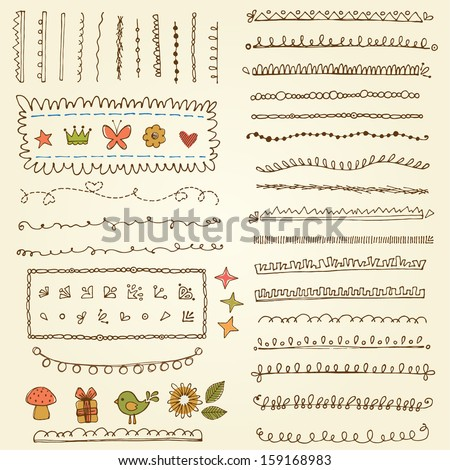 Vector design elements. Based on an ink drawing. - stock vector