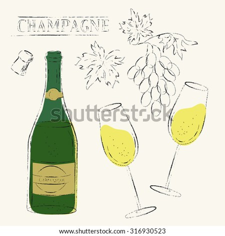 Vector design elements. Flute wine glasses, cork and champagne wine bottle and wine grapes set. Grungy sketch illustration for wine list, party menu background, celebration and wedding design. - stock vector