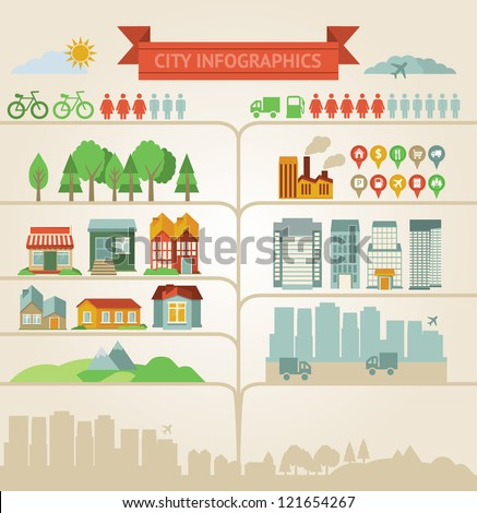 Vector design elements for infographics about city and village - stock vector