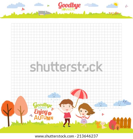 Vector design elements for notebook, diary, organizer and other school template design. Cute and cartoon illustration note papers, ready for your message. Goodbye summer. Hello autumn. - stock vector