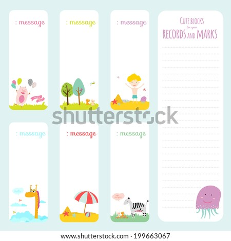 Vector design elements for notebook, diary, stickers and other template design. Cute and cartoon illustration, ready for your message. School accessories. Summer, animals, sun, flower, kids, beach. - stock vector