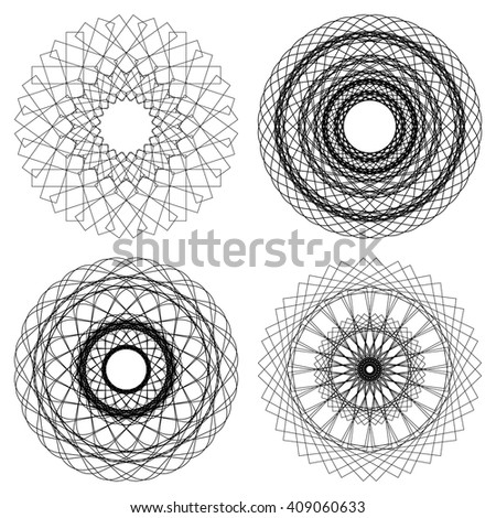 Vector design elements. Guilloche elements for certificate, diploma, voucher, currency and money design.  Geometric fashion pattern. Vector mandala. Set of 4 circular patterns - stock vector