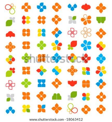 Vector design elements, 63 pieces - stock vector