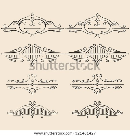 Vector design elements set. Calligraphic dividers. Page decor. - stock vector