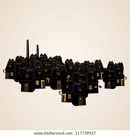 Vector design elements, silhouette of  cityscape - stock vector