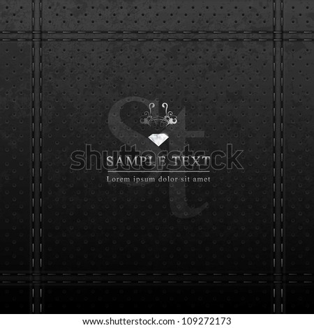 Vector Design - eps10 Black Leather with Stitches Background - stock vector