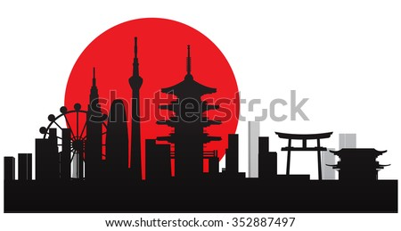 Vector Design - eps10 Building and City of Japan, Urban cityscape of Japan, Abstract Japan City Skyline, Twilight in city, Black silhouettes of Japan - stock vector