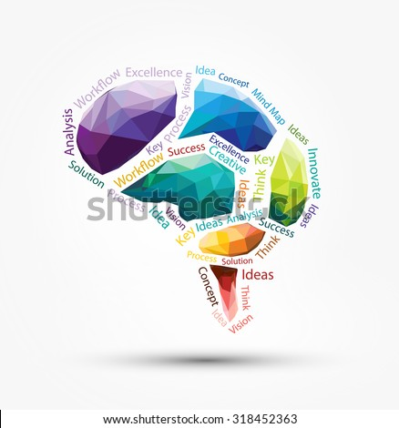 Vector Design - Eps10 Design Vector Brain Polygon, Vector Design Part of Brain, Abstract vector Illustration, Brain Infographic concept - stock vector