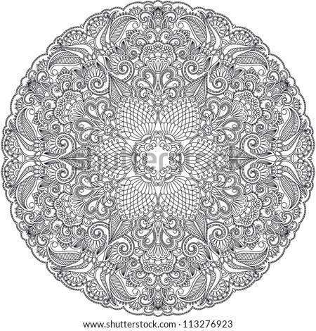 Vector design floral round ornament. - stock vector