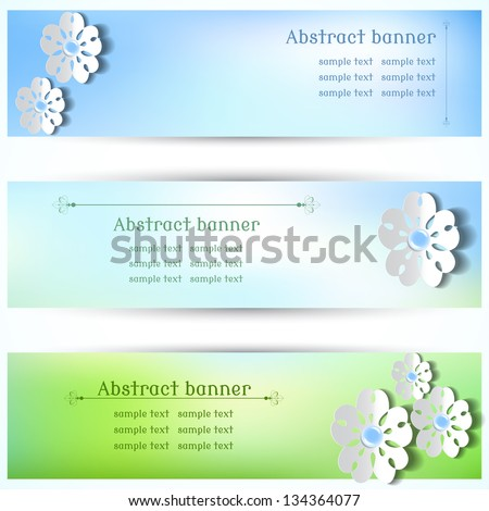 Vector design for abstract horizontal banner. Flowers cut from paper. Blue-green background.  Place for your text - stock vector