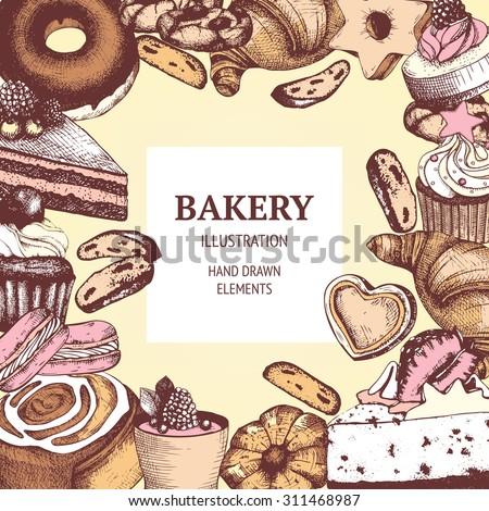 Vector design for bakery or baking shop with hand drawn dessert illustration. Vintage bakery sketch background. Menu template. - stock vector