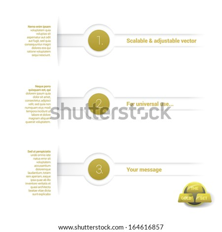 Vector design, gold edition of adjustable eps10 vector composition an abstract minimal geometric paper background based list elements with menu field for numbering or lettering,  for universal use  - stock vector
