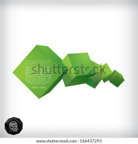 Vector design. Green edition of a 3d abstract geometric scalable eps10 horizontal composition of  flying  cubes in a clean white space for infographics, webdesign or for brochure print graphic banner - stock vector