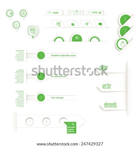 Vector design, green edition of adjustable eps10 vector composition an abstract minimal geometric origami paper background elements with buttons and tabs for numbering for universal use - stock vector