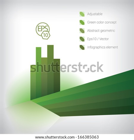 Vector design. Green - white, bright background edition of an abstract scalable geometric minimal simple background info graphics template element for print & web site & brochure illustration  - stock vector