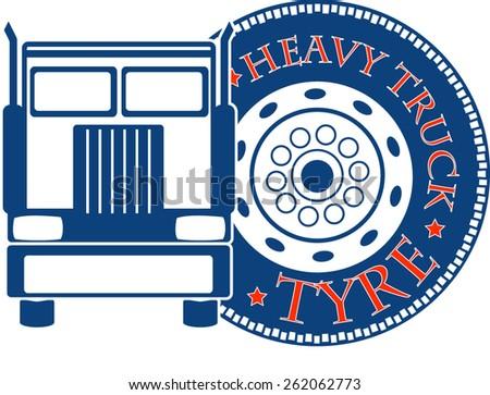 vector design heavy truck automobile service for trade or tire business - stock vector