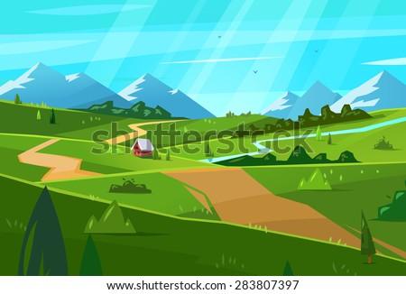 Vector design illustration for web design development, natural landscape graphics. - stock vector