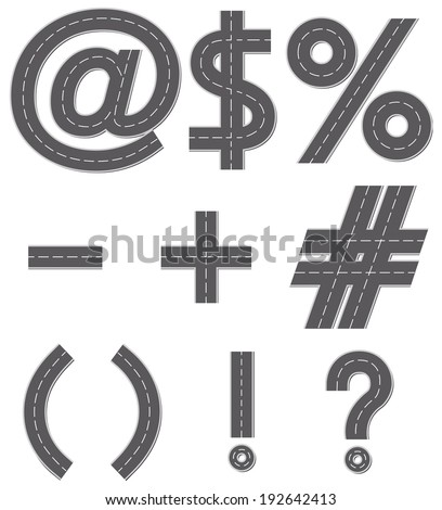 Vector design illustration of ampersand, dollar, percent, plus, minus, dash, brackets and punctuation marks in the form of a road with white line markings - stock vector