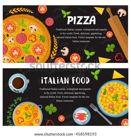Vector design italian food: minestrone, pasta,  pizza, cheese,  panacota,  coffee. Set of food web banner flat design - stock vector
