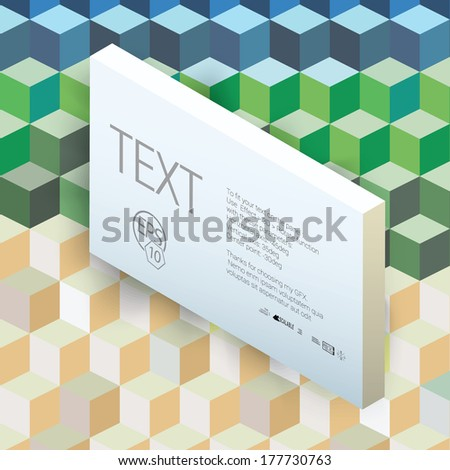 Vector design. Landscape colors edition of an abstract geometric colorful 3d infographics illustration for web, print, infochart or brochure layout graphics element with a center arranged textbox  - stock vector