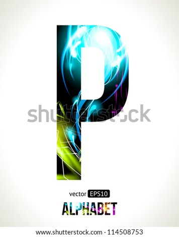 Vector design light effect alphabet. Easy customizable.  Letter P. - stock vector
