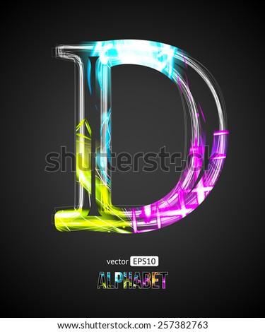 Vector Design Light Effect Alphabet. Letter D on a Black Background. - stock vector