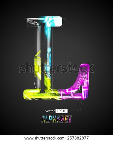 Vector Design Light Effect Alphabet. Letter L on a Black Background. - stock vector