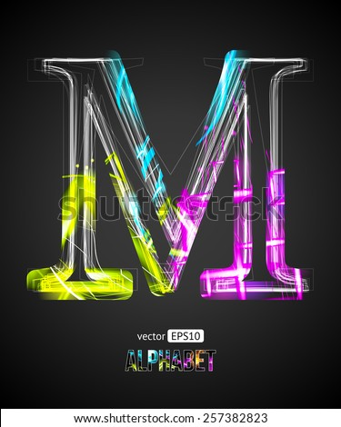 Vector Design Light Effect Alphabet. Letter M on a Black Background. - stock vector