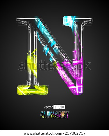 Vector Design Light Effect Alphabet. Letter N on a Black Background. - stock vector